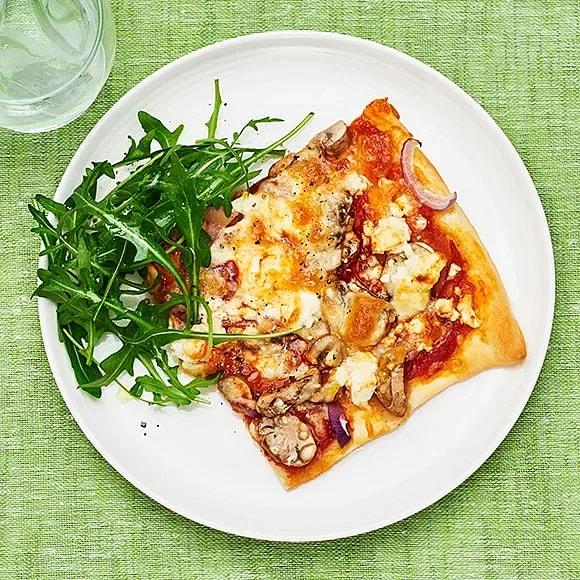 Svamppizza med fetaost