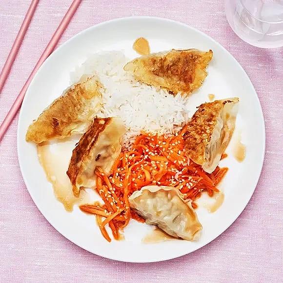 Dumplings med ris och dipp