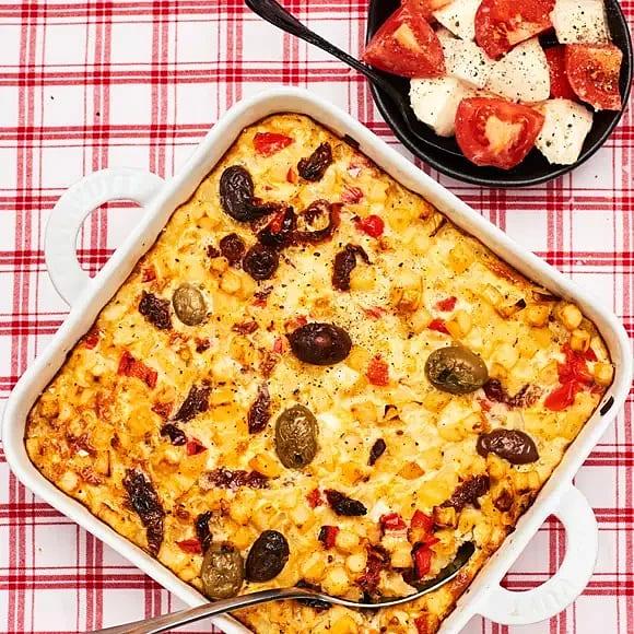 Frittata med soltorkade tomater och oliver