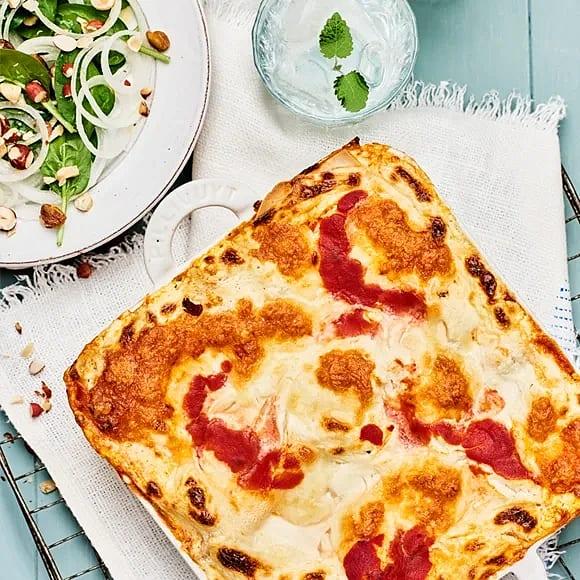 Lasagne med linser och grillad paprika