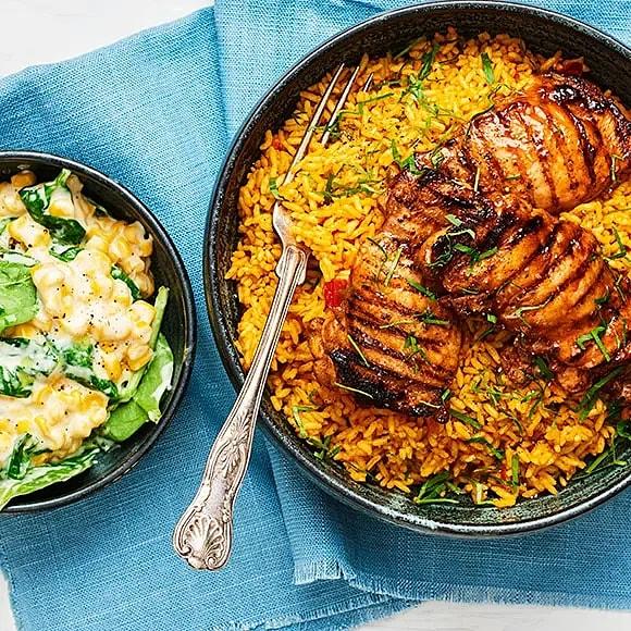Kyckling BBQ med mexikanskt ris och creamed corn