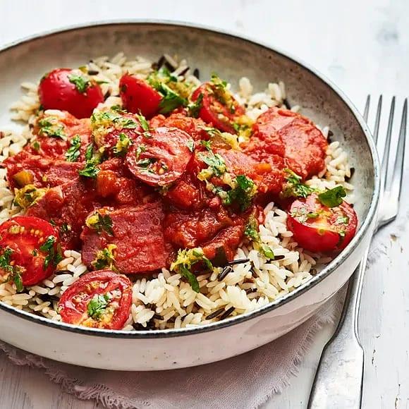 Tomatbräserad bringa med gremolata och tomat