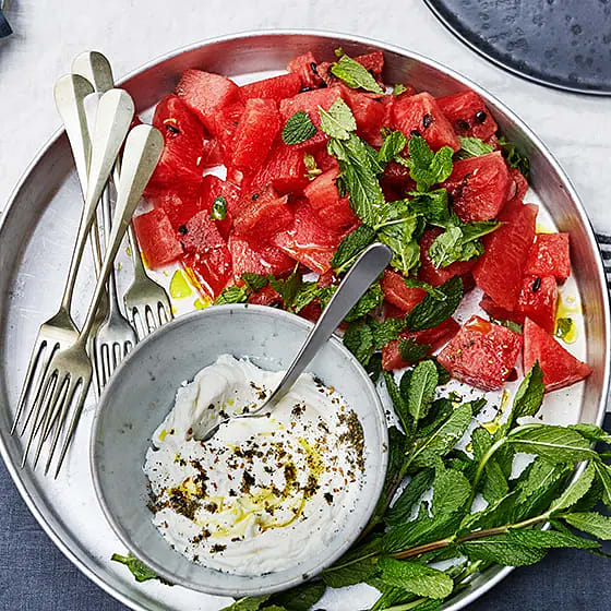 Vattenmelon med yoghurt och Za´atar