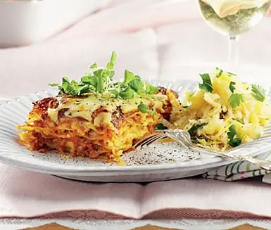 Vegetarisk lasagne med kryddiga rotfrukter