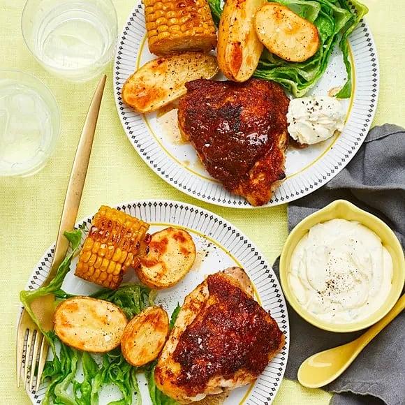 BBQ-kyckling med majs och dragonsmetana