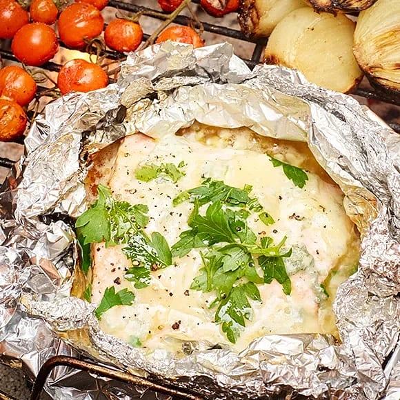 Lax i foliepaket med gorgonzola