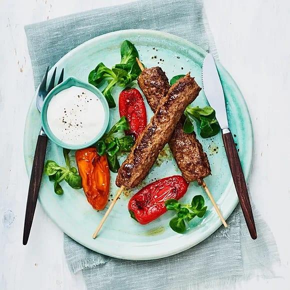 Kebabspett med rostad paprika
