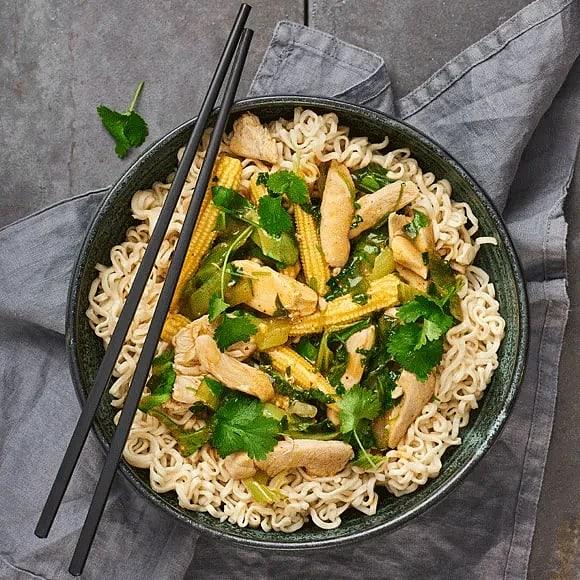 Kyckling i röd curry och koriander