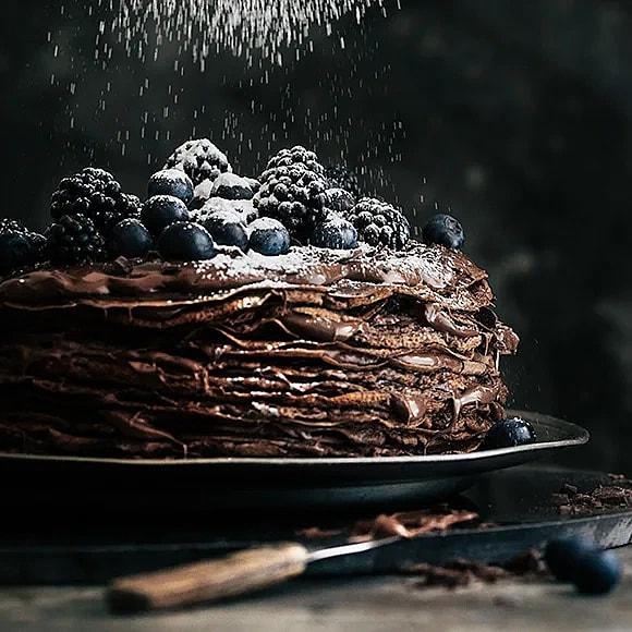 Pannkakstårta med choklad och nutella