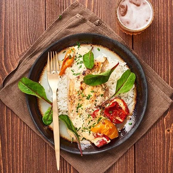 Gratinerad kyckling med grillad paprika