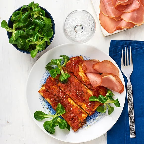 Lomo och cannelloni med grillade grönsaker