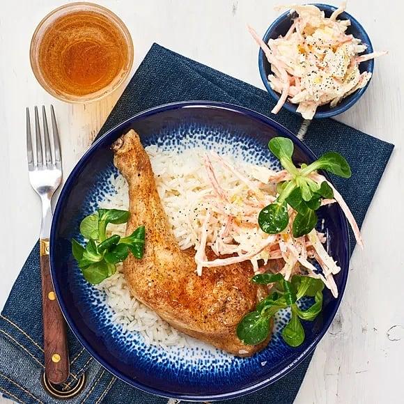 Grillad kycklingklubba med coleslaw