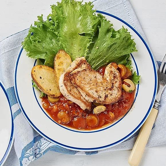 Stekt kalkon med tomat- och olivsås