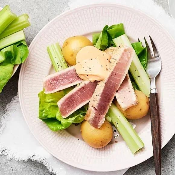 Halstrad tonfisk med chilimajonnäs