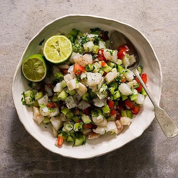 Ceviche på torsk med chili och lime