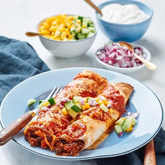 Enchiladas med majs och gräddfil