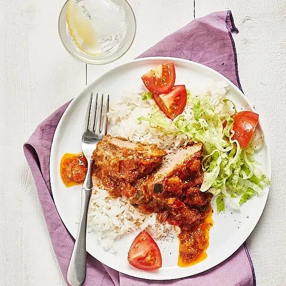 Ostfylld köttfärslimpa med ris
