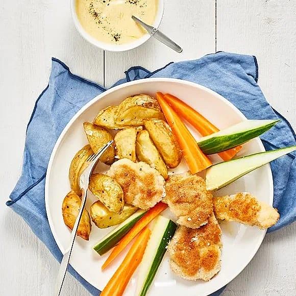 Chicken nuggets med currydip och klyftisar