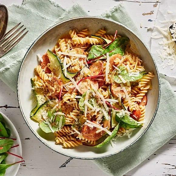 Salsiccia med bönpasta och zuccini