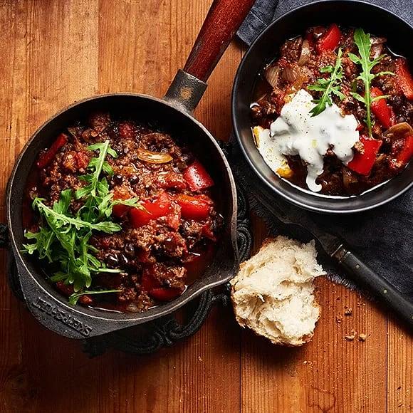 Chili con carne med aubergine