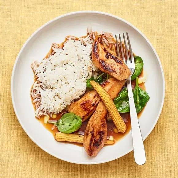Kyckling teriyaki med ris och minimajs