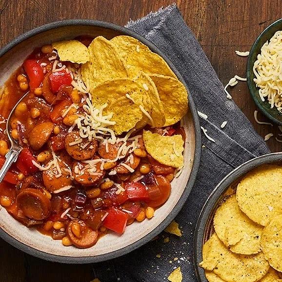 Chili med chorizo, rödlök och paprika