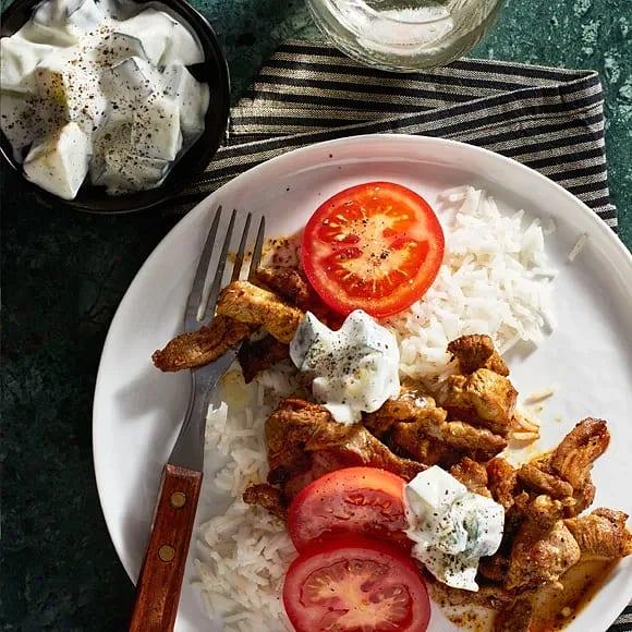Kebab med vitlökssås