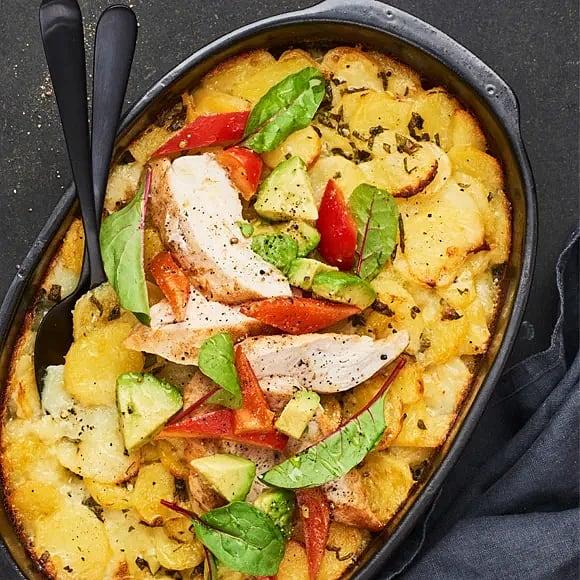 Vitlöksstekt kyckling med oreganokryddad potatisgratäng