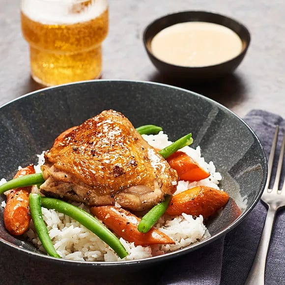 Kycklinglår i ugn med gräddig sojasås