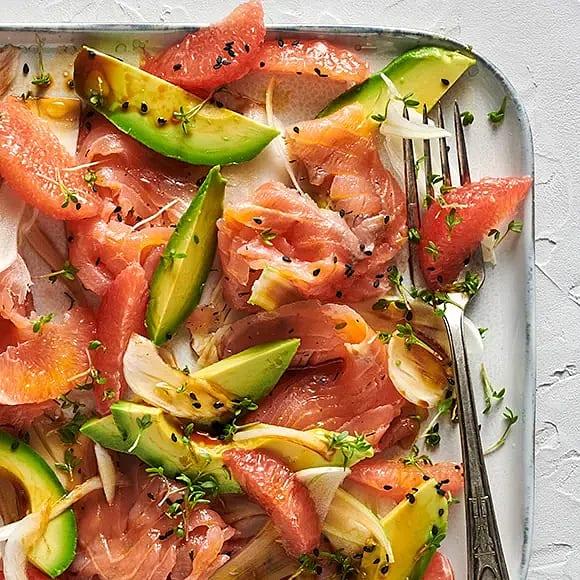 Lax med fänkål, grapefrukt och avokado