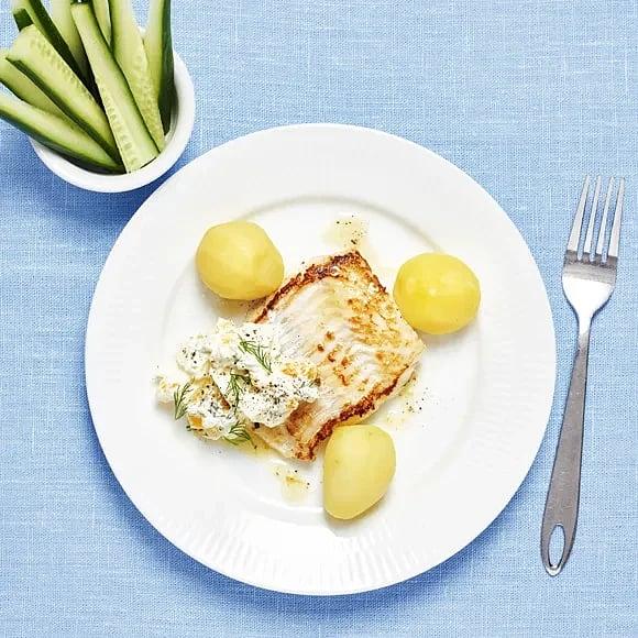 Stekt torsk med kall äggsås