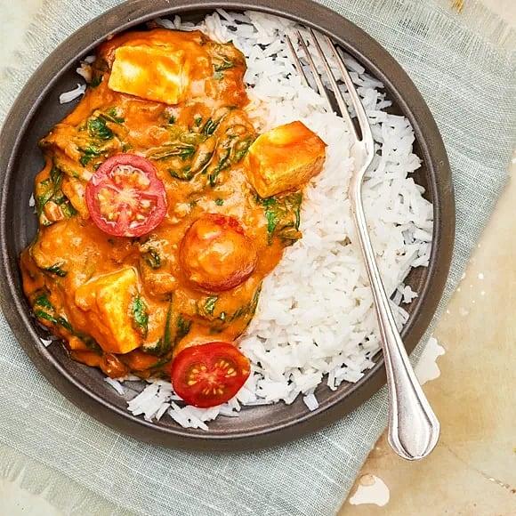 Spenatcurry palak paneer med tomat