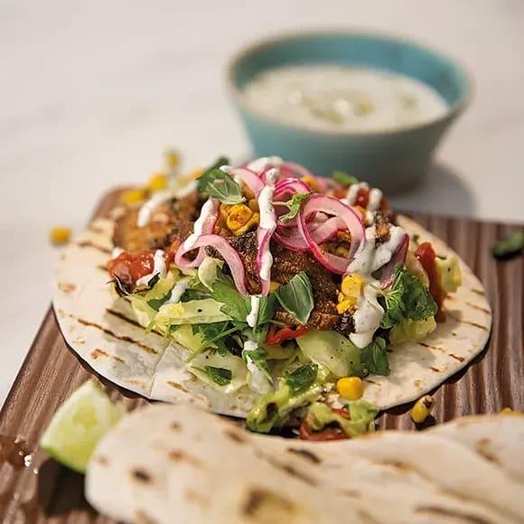 Tacos med portabello och spetskål
