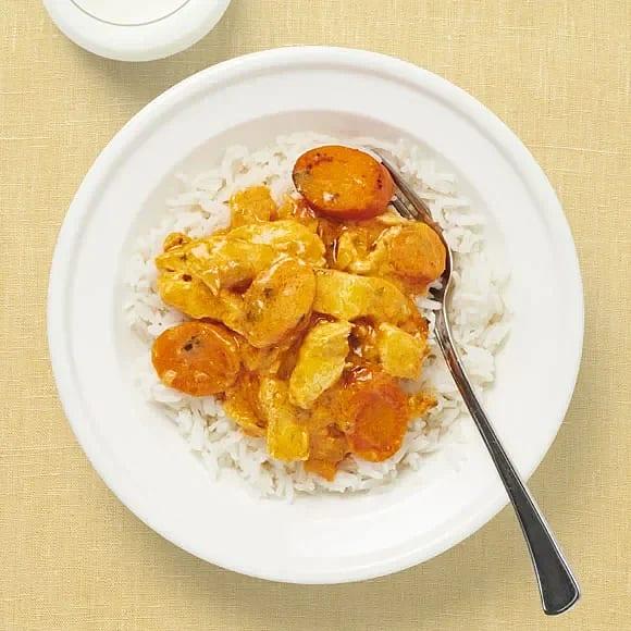 Thaigryta med kyckling och ris