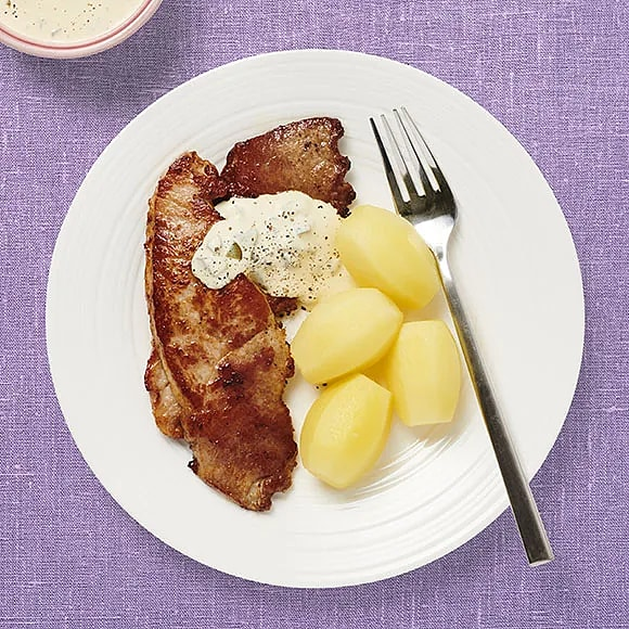 Skinkschnitzel med gurksås