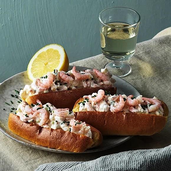 Shrimp rolls med brioche