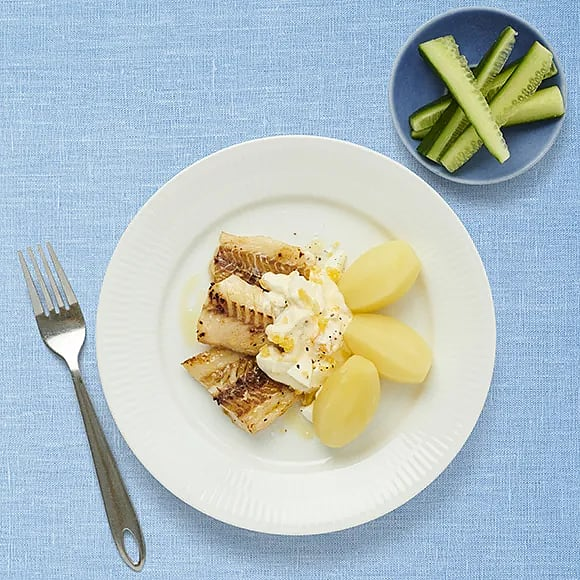 Stekt alaska pollock med äggsås och gurka
