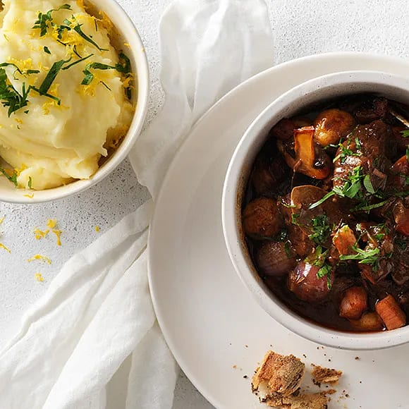 Boeuf bourguignon med potatismos