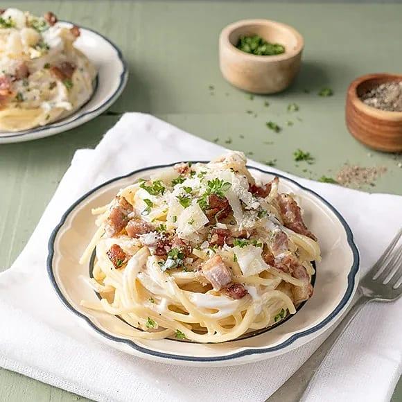 Spaghetti carbonara med färskost