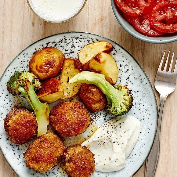 Nuggets med fuskbea och rostad broccoli