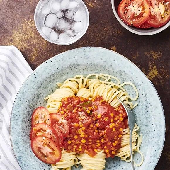 Linsbollo med spaghetti