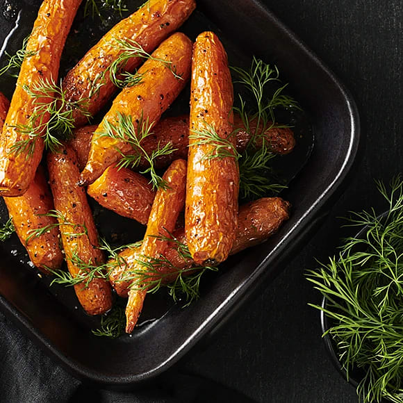 Rostade morötter med dill, ättika och honung
