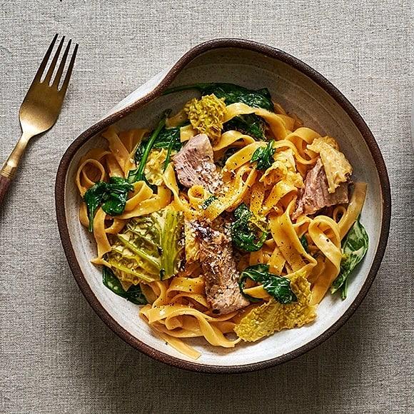 Krämig pasta med fläskkarré