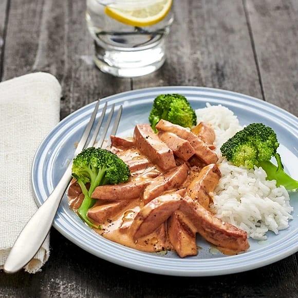 Kycklingkorvsstroganoff med ris