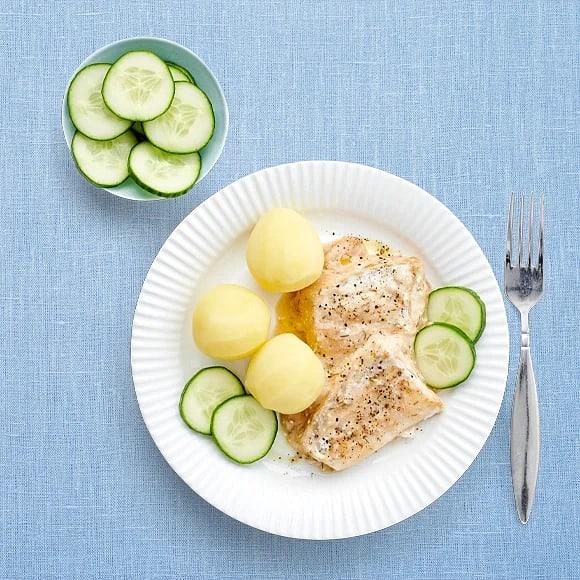 Fiskgratäng och gurka