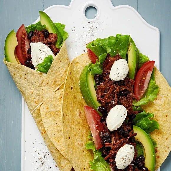 Beef chilitortilla med avokado