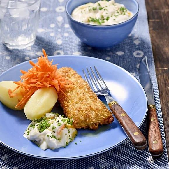 Sprödbakad torsk med ägg- och gräslökssås