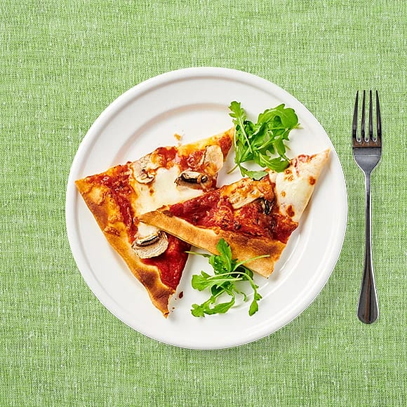Mozzarellapizza med champinjoner