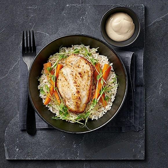 Stekt kyckling med sojamajonnäs