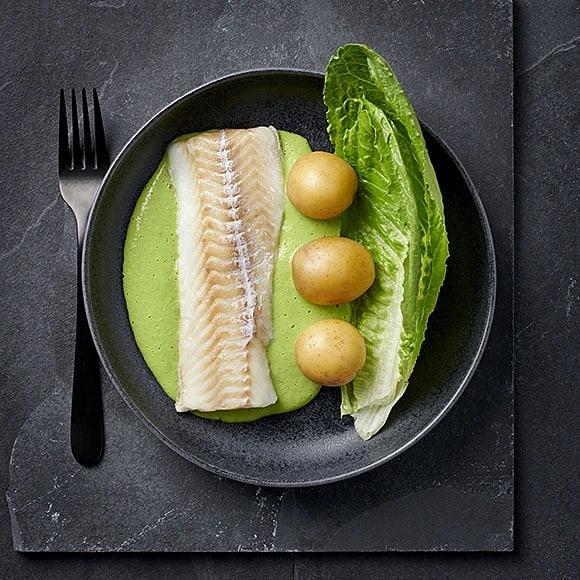 Ugnsbakad torsk med ärtsås